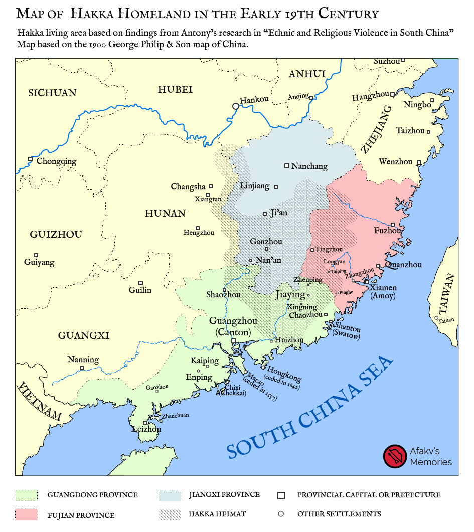 """Map of Hakka Homeland in the Early 19th Century. Hakka living area based on findings from Antony's research in """"Ethnic and Religious Violence in South China"""" Map based on the 1900 George Philip & Son map of China."""